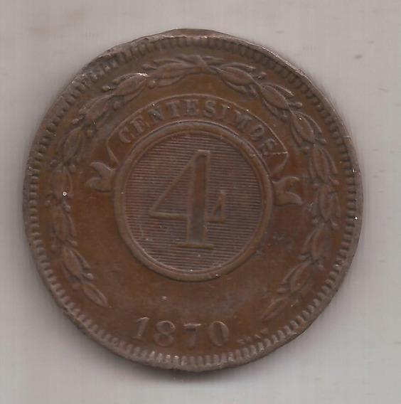 Paraguay Antigua Moneda De 4 Centesimos Año 1870