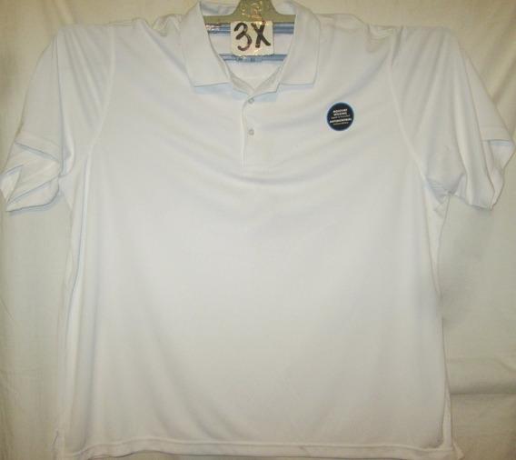 Camiseta Blanca Tipo Polo Talla 3x Microfibra George