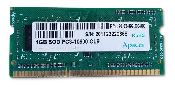 Memoria Apacer 1gb Pc3-10600 Cl9 Para Notebook O Netbook