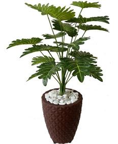Planta Artificial Decoração Enfeite + Vaso Marrom 3d Oferta