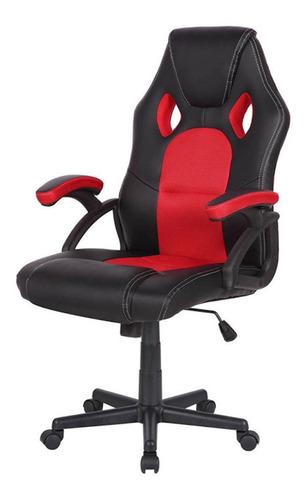 Imagen 1 de 1 de Silla de escritorio Desillas pro gamer momentum gamer ergonómica  negra y roja con tapizado de cuero sintético y mesh