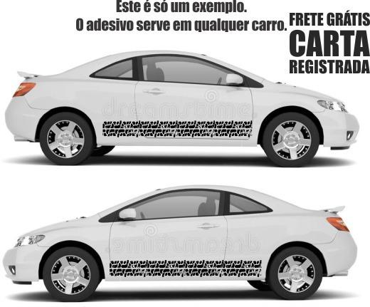Adesivos Faixas Laterais Rastro Pneu Para Carro 170cm D090