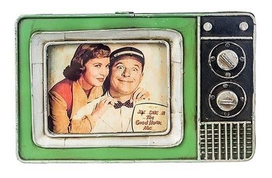 Porta-retrato Tv Vintage Retrô Rústico Metal