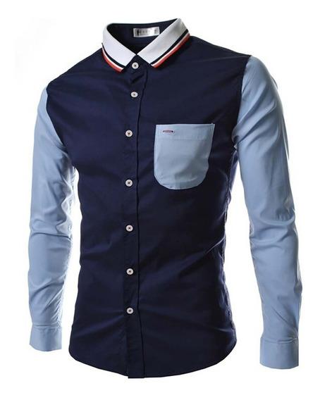 Camisa Casual Masculina Slim Fit Blusas Camisetas 459
