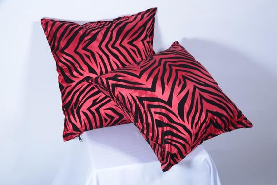 Cojín Moderno Para Sala Modelo Zebra Y Rojo