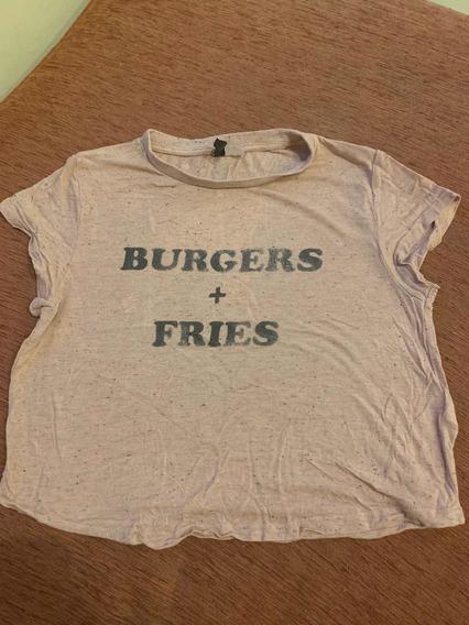 Remera Mujer Rosa burgers + Fries H&m