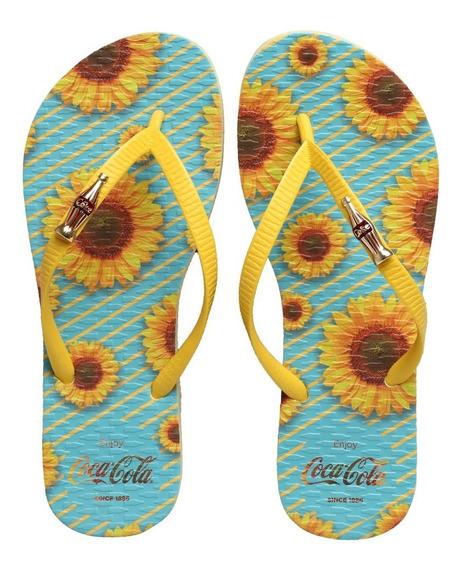 Chinelo Coca Cola Sunflowers Amarelo Patel/amarelo Cc2668
