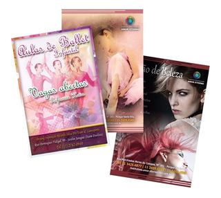2500 Panfletos Folhetos 10x14 4x4 Couche 90g Arte Grátis