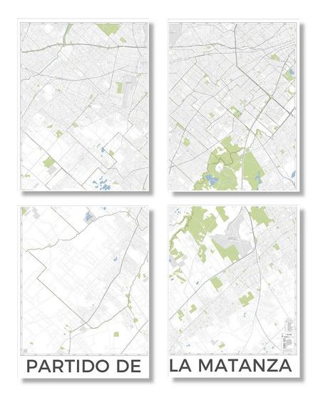 Mapa Cuadríptico Partido De La Matanza 160cmx122cm
