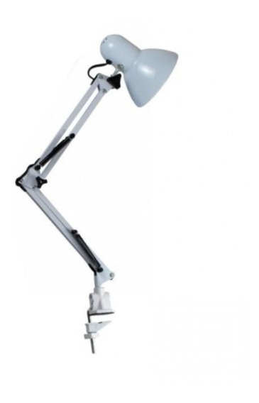 Luminária De Mesa Articulável Presilha Garra Estudos Branca