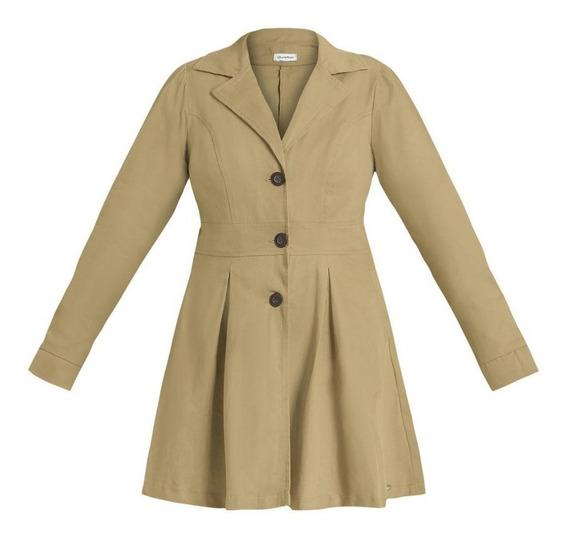 Sobretudo Feminino Casaco Plus Size Em Sarja Cáqui 1760922