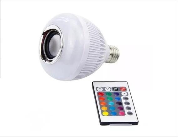 Lâmpada Bluetooth Led 12w Music Rgb Caixa De Som + Controle Multicolorida Tome Banho Ouvindo Música Oportunidade Barato