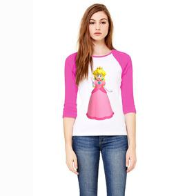Playera 3/4 Princesa Peach Mario Bros, Mujer, Rosa.