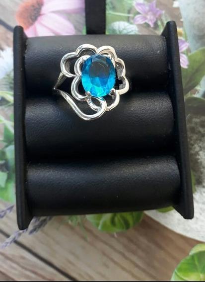 Anillo De Plata Italiana Con Topacio Azul