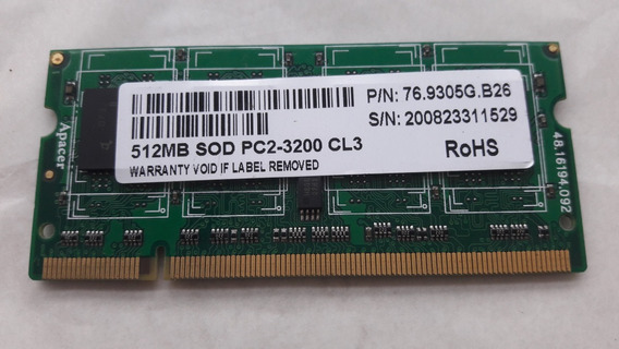 Memória Note Ddr2 512m 400mhz Sod Pc2-3200 Cl3 76.9305g.b26