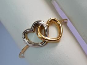 Anel Dois Coração Em Ouro 18k Amarelo E Branco Coração Duplo