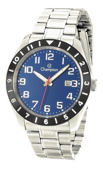 Relógio Champion Prata Fundo Azul Ca31435a