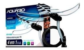 Antena Externa Para Tv 4 Em 1 Vhf Uhf Fm E Hdtv Dtv-3000