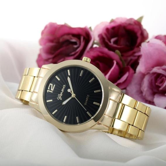 Relógio Feminino Dourado Luxo Geneva Pulseira Aço Inoxidável