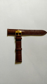 Pulseira Omega 18mm Couro Marrom Dourada Seamaster