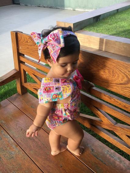 Kit 3 Jardineiras Com Turbante Infantil, Body Feminina Bebê