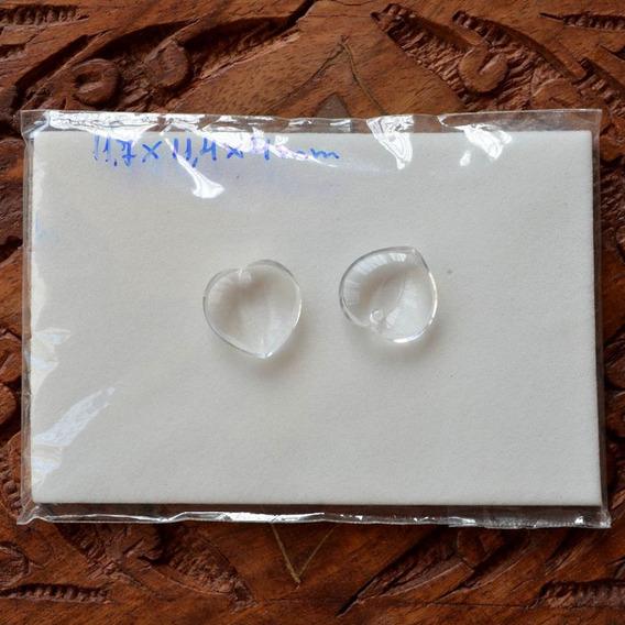Dois Corações De Cristal Autênticos 12x11x4mm Para Brincos