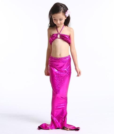 Fantasia De Sereia Infantil C Biquini Meninas Tam 6 7 8 Anos