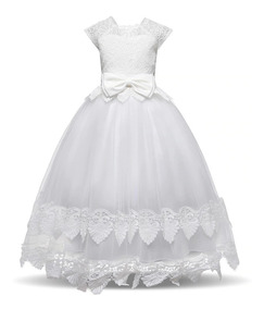 Vestido Daminha Longo Infantil Formatura Comunhão Branco