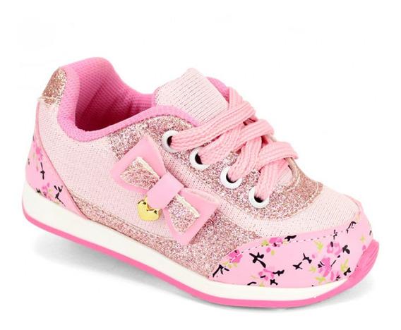 Tênis Infantil Bebê Menina Rosa Confortável Calçado 16 A 22