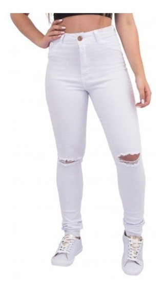 Calça Jeans Branca Hot Pant Destroyed Cintura Alta Lady Rock