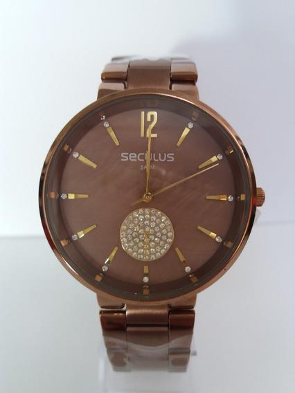 Relógio Séculus 77022lpsvms4 Cor Chocolate