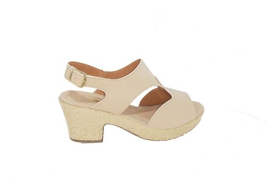 Sandalia Sapato Salto Quadrado Alto Nobuck Feminina Adulta