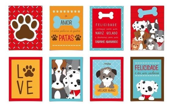 8 Cartazes Decorativo Cachorrinhos 25x35cm Dec. Festas
