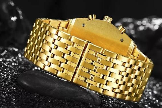 Relógio Masculino Dourado Preto Pesado Original Prova Dagua