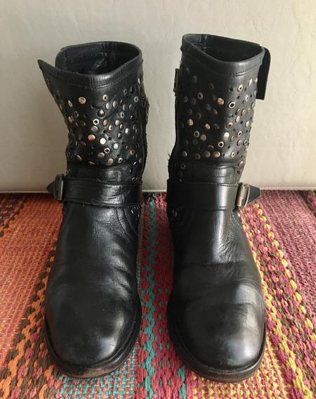 Botas Paruolo De Cuero Negras Con Tachas Número 38