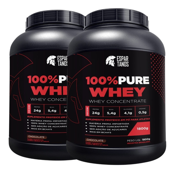 Kit 2x Whey Protein 100% Pure 1800g Espartanos - Total 3,6kg