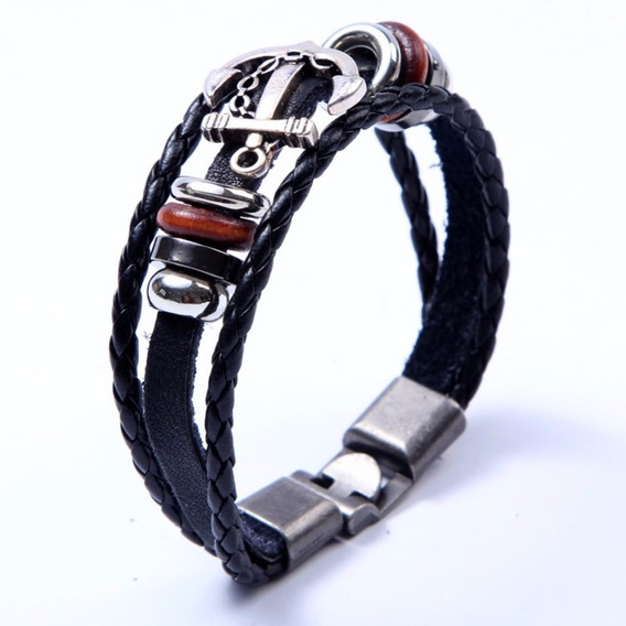 Pulseira Masculina Feminina , Bracelete De Couro Âncora