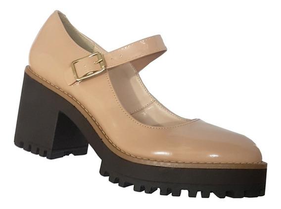 Sapato Boneca Fechado, Modelo Retrô, Preto Ou Nude