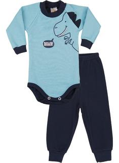 Roupa Bebê Menino Conjunto Body E Calça Longo Inverno Ribana