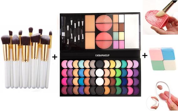 Combo Makeup Set Brochas + Paleta + Esponjas Ideal Regalo