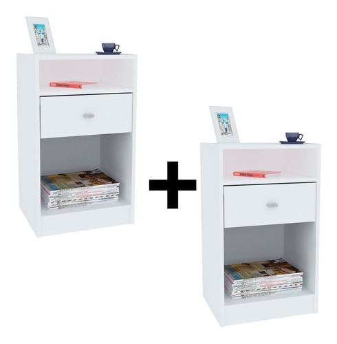 Combo De 2 Mesitas Luz Con 1 Cajon Blanco Dormitorio
