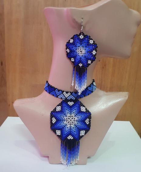 Choker Azul De Chaquira/artesanía Huichol