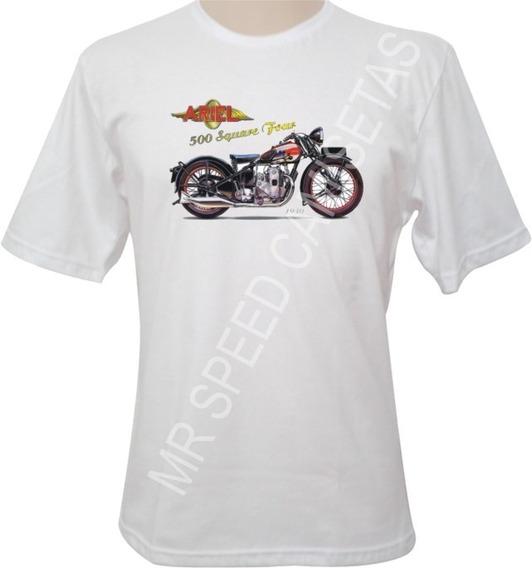 Camiseta Motocicleta Ariel 500 Square Four 1930 Vermelha