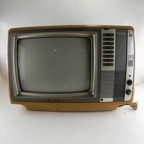 Tv Antiga Toshiba 14 Polegadas 702 Blackstripe Decoração C/ Defeito