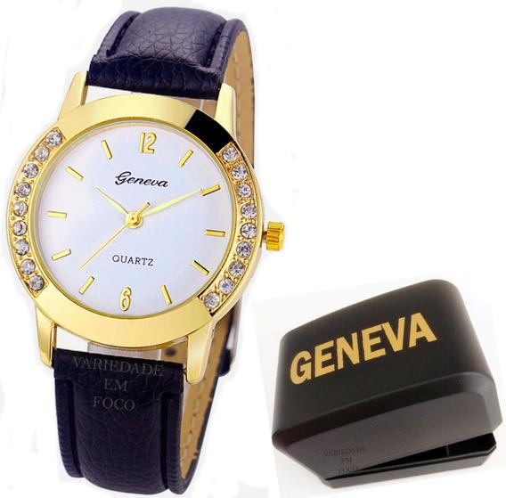 Relógio Feminino Barato Geneva Strass Dourado Com Caixinha