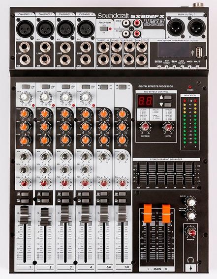 Mesa De Som Soundcraft Sx802 Fx Analógica 8 Canais Usb C/ Nf