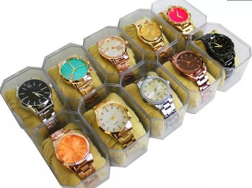 Kit Com 10 Relógios Feminino+caixas Atacado Lote Revenda