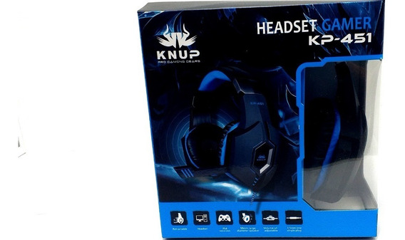 Headset Gamer Pc Ps4 Smartphone Com Fio P2 Knup 451