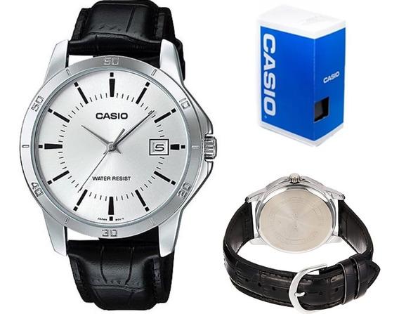 Reloj Casio Mtpv004 Hombre Correa Negra, Plata Full