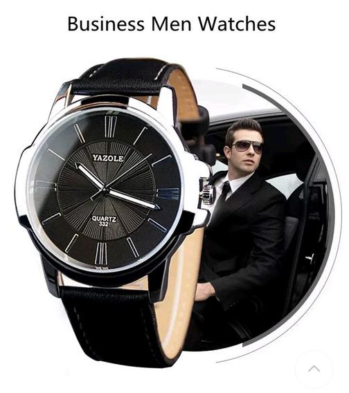 Relógios Masculinos Pulso Com Pulseira Couro Caixa Preta Aço
